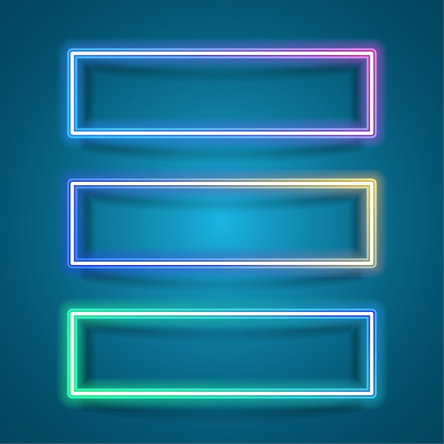 Simple rectangle frame for banner design. rectangle neon style Premium Vector