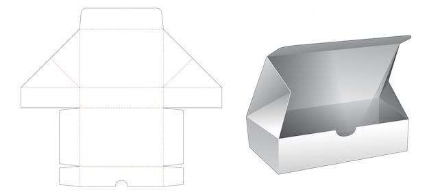 シンプルな長方形の包装箱ダイカットテンプレート Premiumベクター