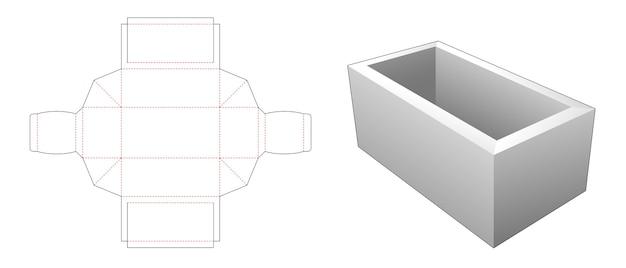 Simple rectangular tray die cut template Premium Vector