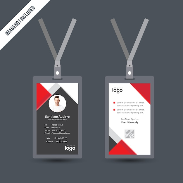 Simple Red & Black Color Id Card Design Template Vector | Premium ...