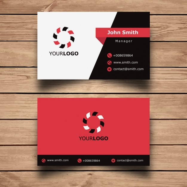 simple red business card design free vector