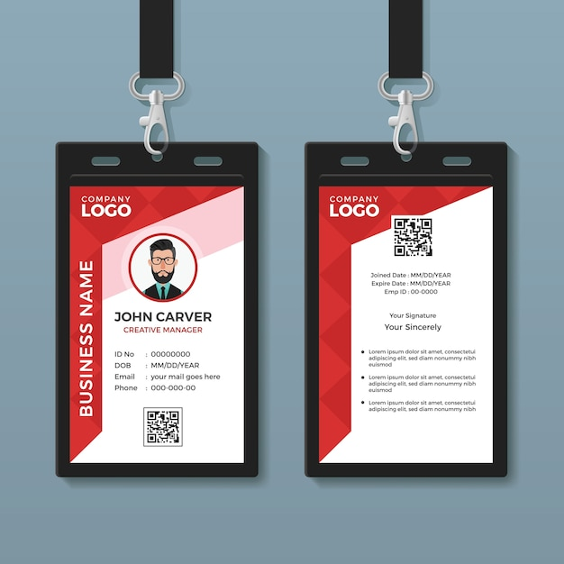 premium vector  simple red graphic id card template