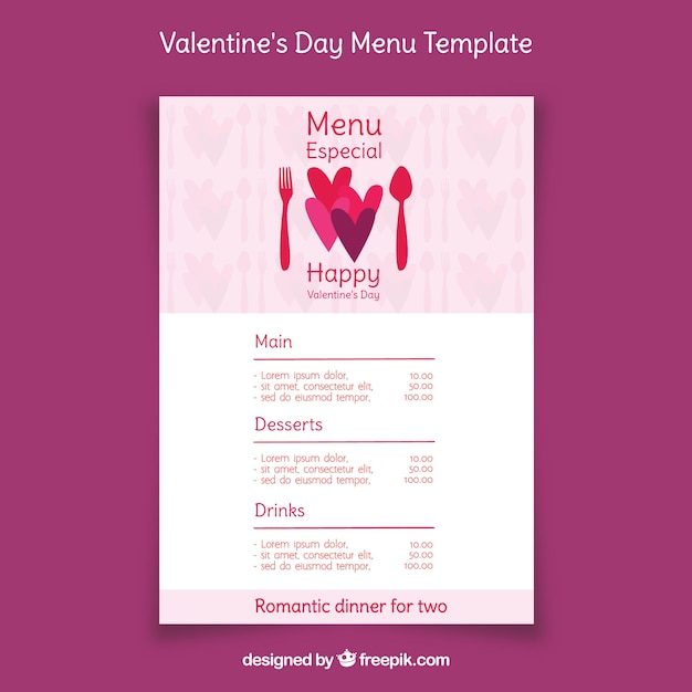 simple restaurant menu for valentines day vector free download
