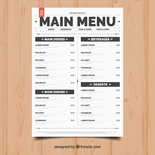 Simple restaurant menu vector free download for Resturant menu templates