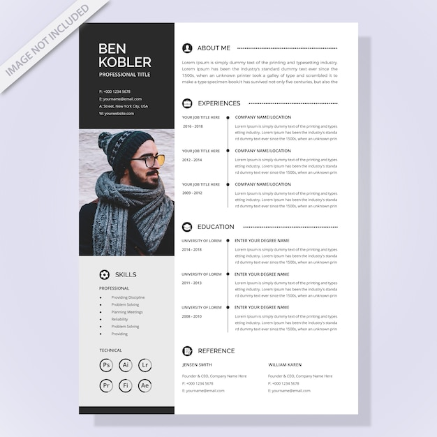 Simple resume template Vector | Premium Download