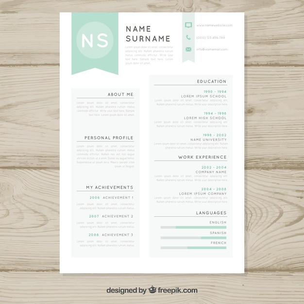 simple resume template free vector