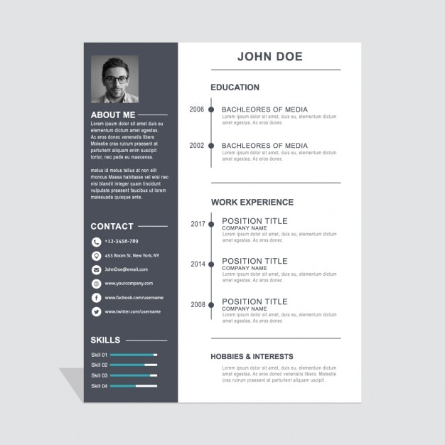 Cv Template Vectors Photos and PSD files – Resume Templates Design