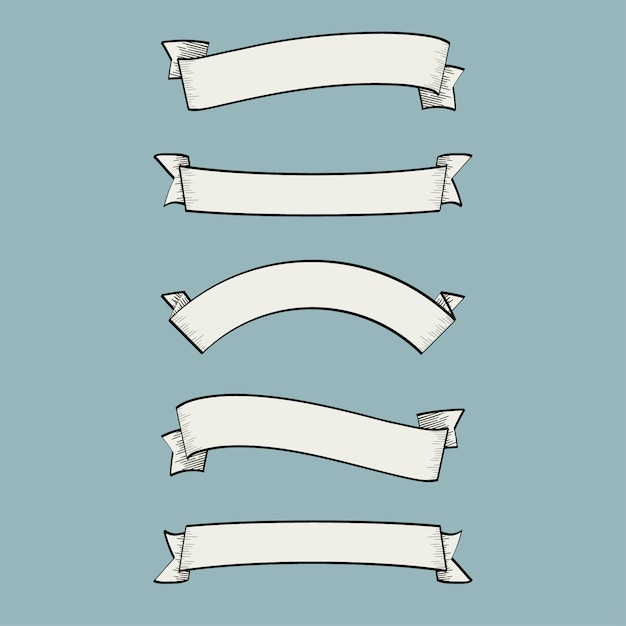 Simple ribbons collection Free Vector