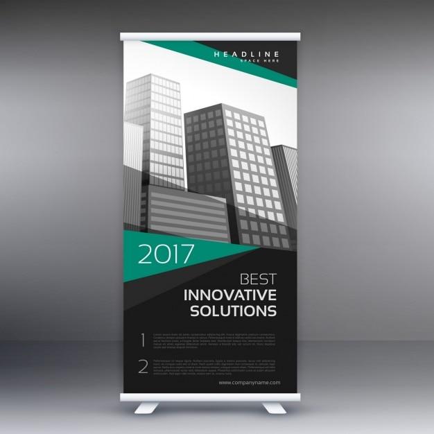Moderno roll up banner design per la presentazione di affari Vettore gratuito