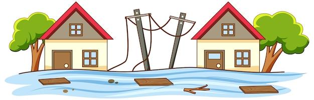 Semplice scena di alluvione in città Vettore gratuito