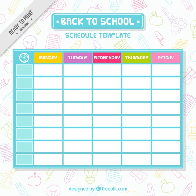 Simple School Schedule Template Vector  Free Download