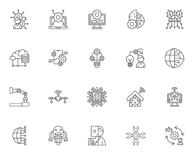 Simple set of artificial intelligence related icons in line style Premium Vector