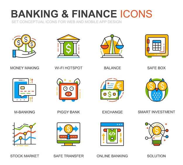 Simple set banking and finance line icons for website Premium Vector