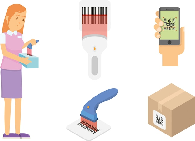 Simple set of bar-code and qr code related vector line icons Premium Vector