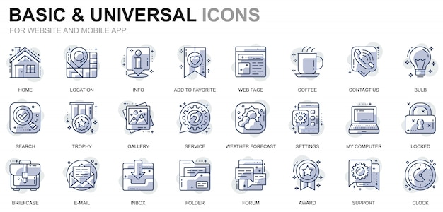 Simple set basic line icons for website and mobile apps Premium Vector