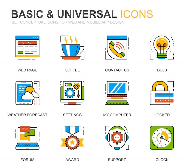 Simple set basic line icons for website Premium Vector