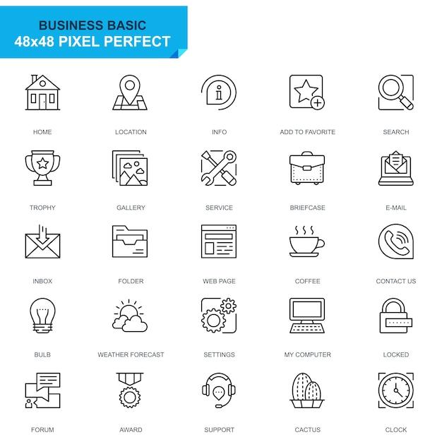 Simple set basic line icons Premium Vector