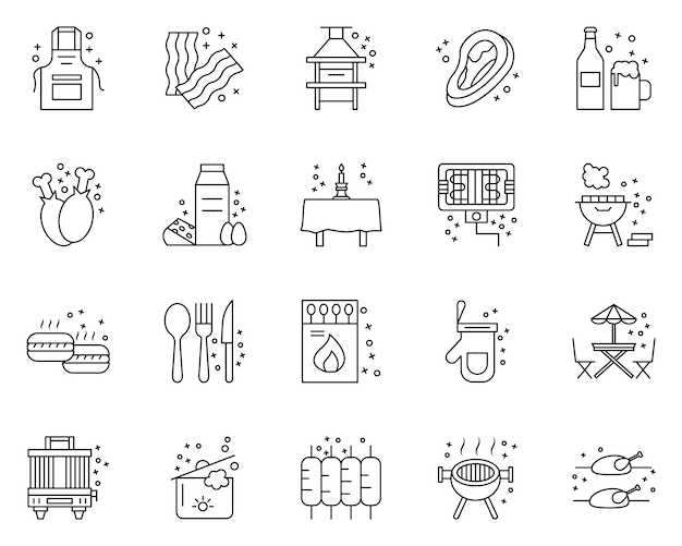 Simple set of bbq party related icons in line style Premium Vector