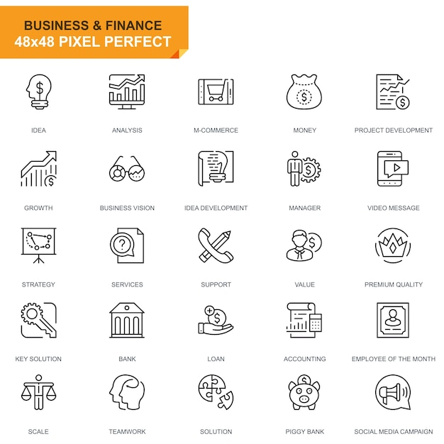 Simple set business and finance line icons Premium Vector