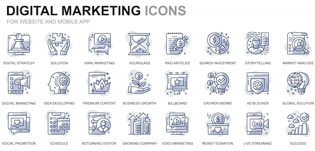 Simple set business and marketing line icons for website and mobile apps Premium Vector