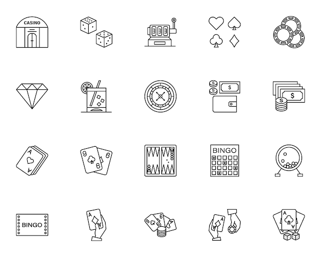 Simple set of casino elements related icons in line style Premium Vector