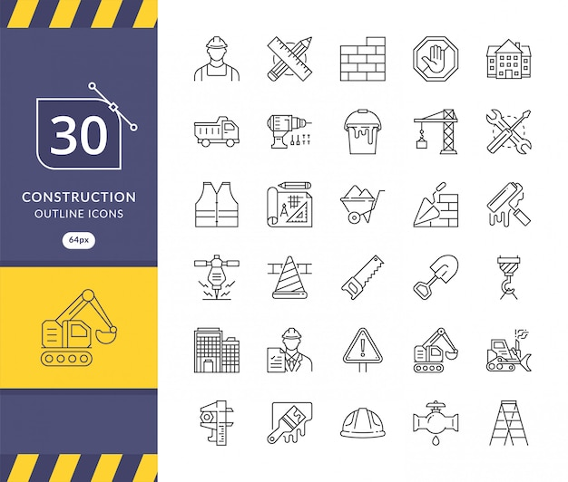 Simple set of construction related icons Premium Vector