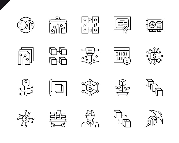 Simple set of cryptocurrency related vector line icons. Premium Vector