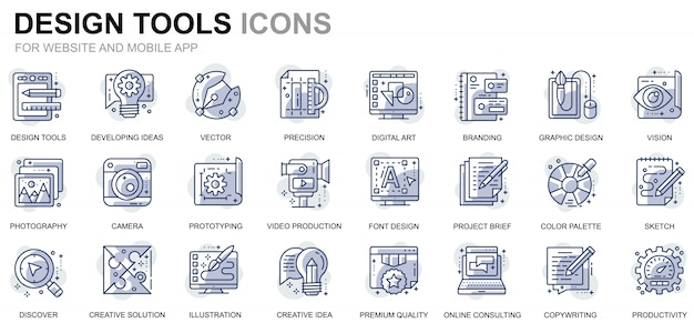 Simple set design tools line icons for website and mobile apps Premium Vector