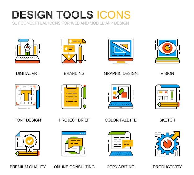 Simple set design tools line icons for website Premium Vector