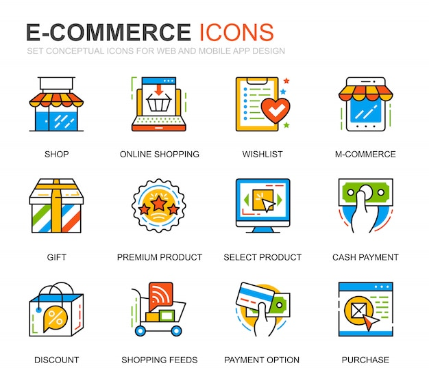Simple set e-commerce and shopping line icons for website Premium Vector