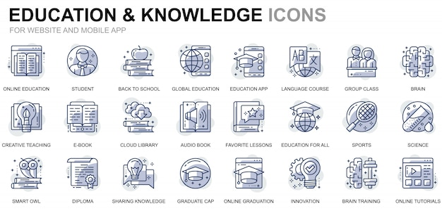 Simple set education and knowledge line icons for website and mobile apps