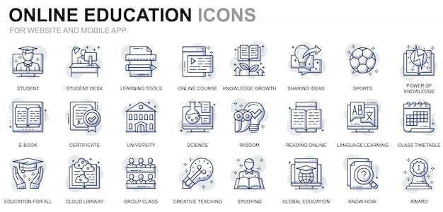 Simple set education and knowledge line icons for website and mobile apps Premium Vector