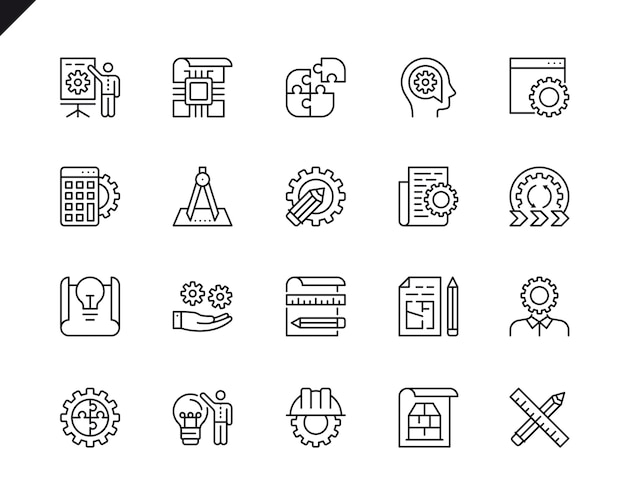Simple set of engineering design related vector line icons. Premium Vector