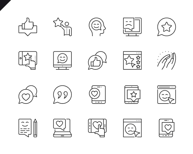 Simple set of feedback related vector line icons. Premium Vector