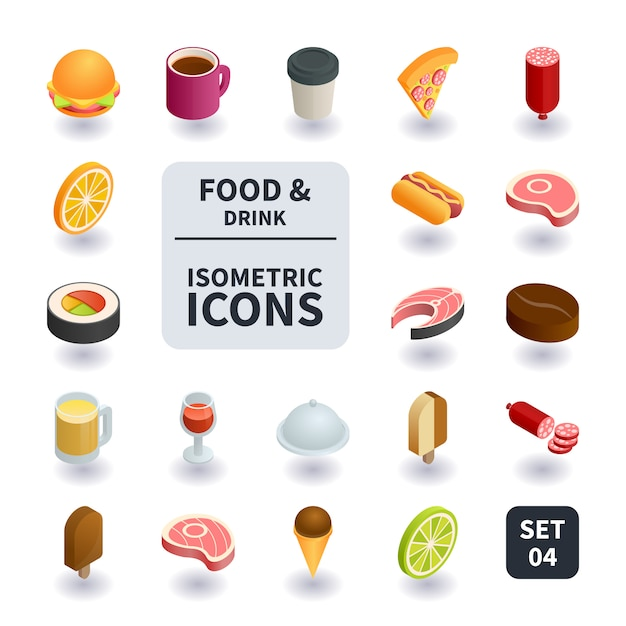 Simple set of food and drink icons. Premium Vector