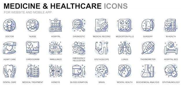 Webサイトとモバイルアプリのシンプルなセットのヘルスケアと医学ラインアイコン Premiumベクター