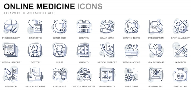 Simple set healthcare and medical line icons for website and mobile apps Premium Vector