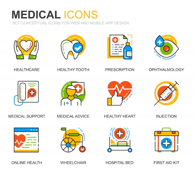 Simple set healthcare and medical line icons for website Premium Vector