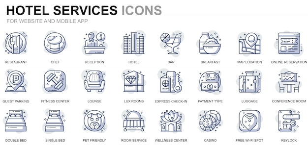 Simple set hotel service line icons for website and mobile apps Premium Vector