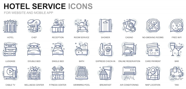 Simple set hotel services line icons for website and mobile apps Premium Vector