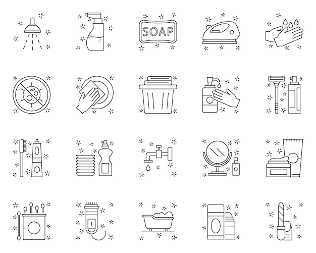 Simple set of hygiene related  line icons Premium Vector