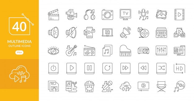 Simple set of multimedia related vector line icons Premium Vector