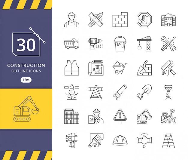 Простой набор иконок, связанных со строительством Premium векторы