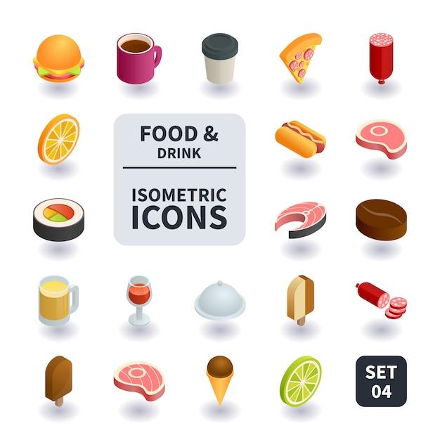 食べ物や飲み物のアイコンのシンプルなセット。 Premiumベクター