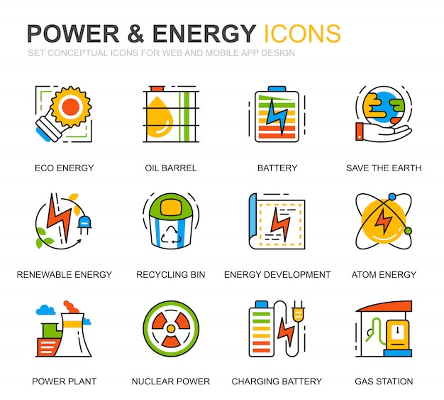 Simple set power industry and energy line icons for website Premium Vector