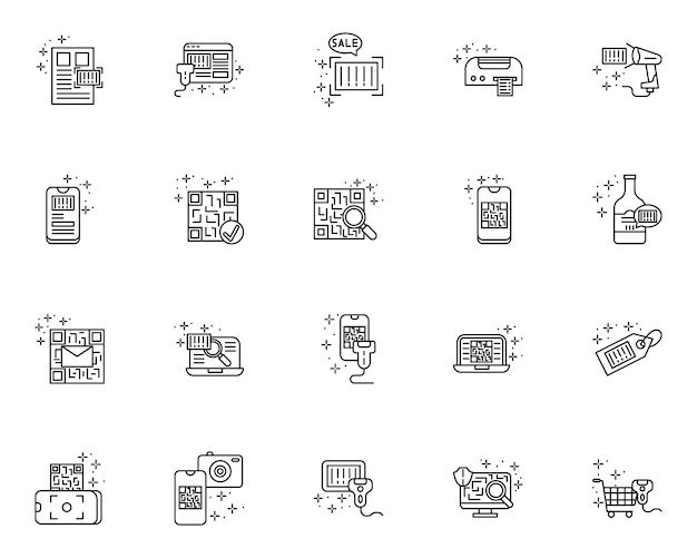 Simple set of qr code and barcode related vector line icons Premium Vector