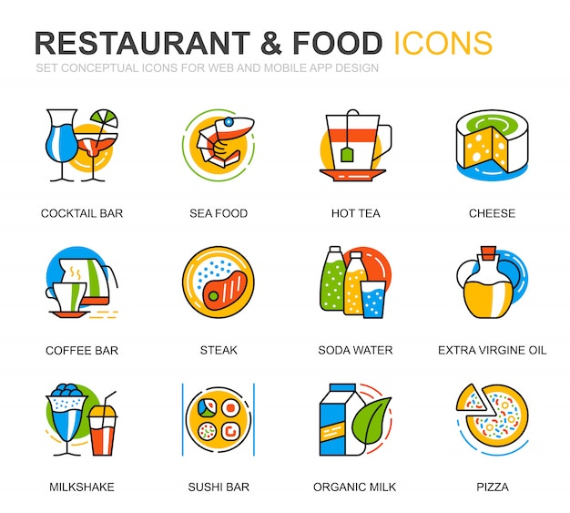 Simple set restaurant and food line icons for website Premium Vector
