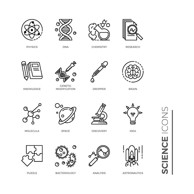 Simple set of science icon, related vector line icons Premium Vector