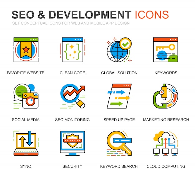 Simple set seo and development line icons for website Premium Vector