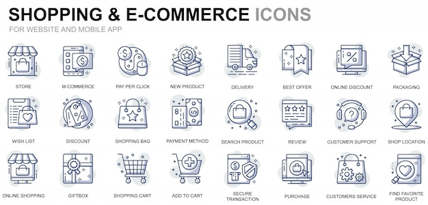 Simple set shopping and e-commerce line icons for website and mobile apps Premium Vector